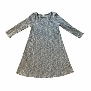 Garage Grey and White Knit Ribbed A-Line 3/4 Sleeve Dress Sz M